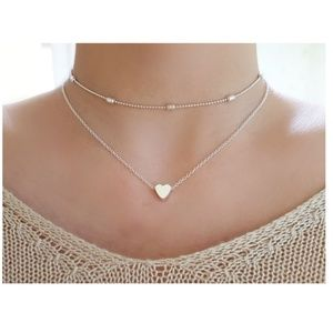 Jewelry - 4 for $20 Layered Heart Choker Necklace (Silver)